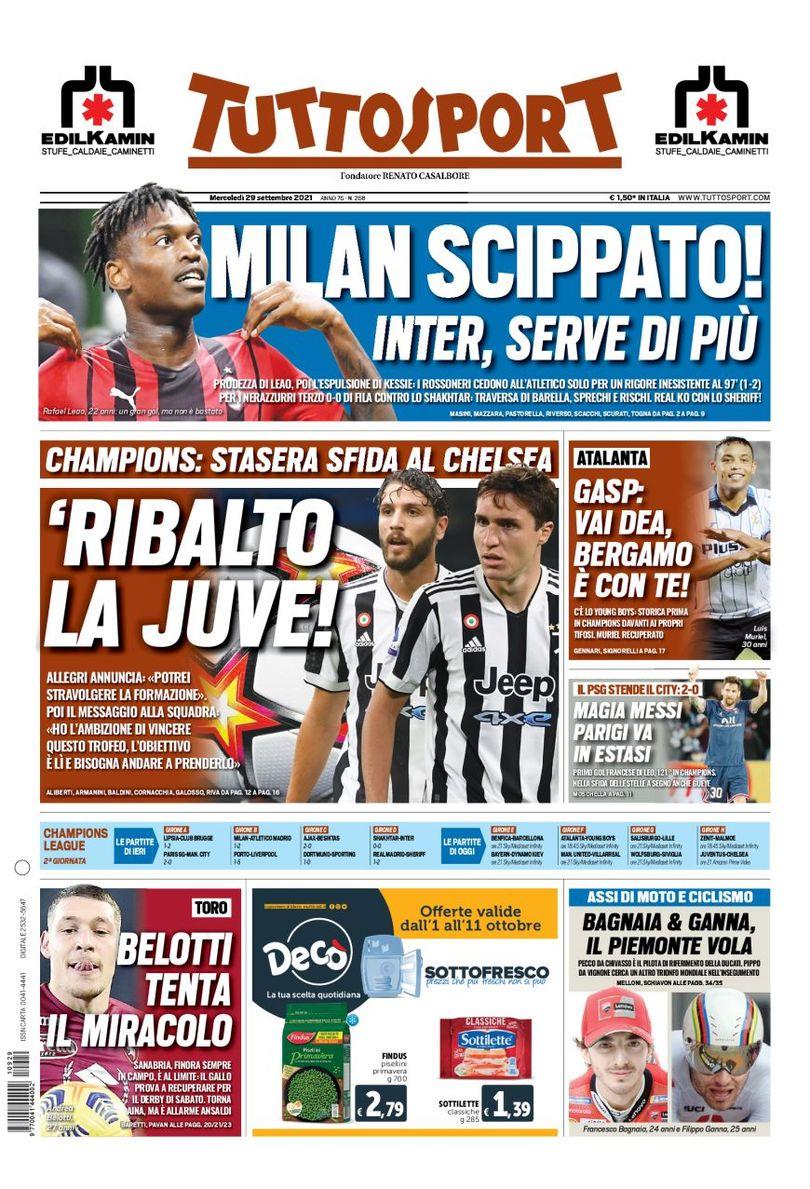 «Милан» обокрали. Заголовки Gazzetta, TuttoSport и Corriere за 29 сентября