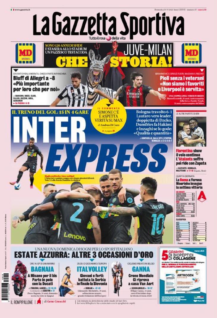 «Интер», акт силы. Заголовки Gazzetta, TuttoSport и Corriere за 19 сентября