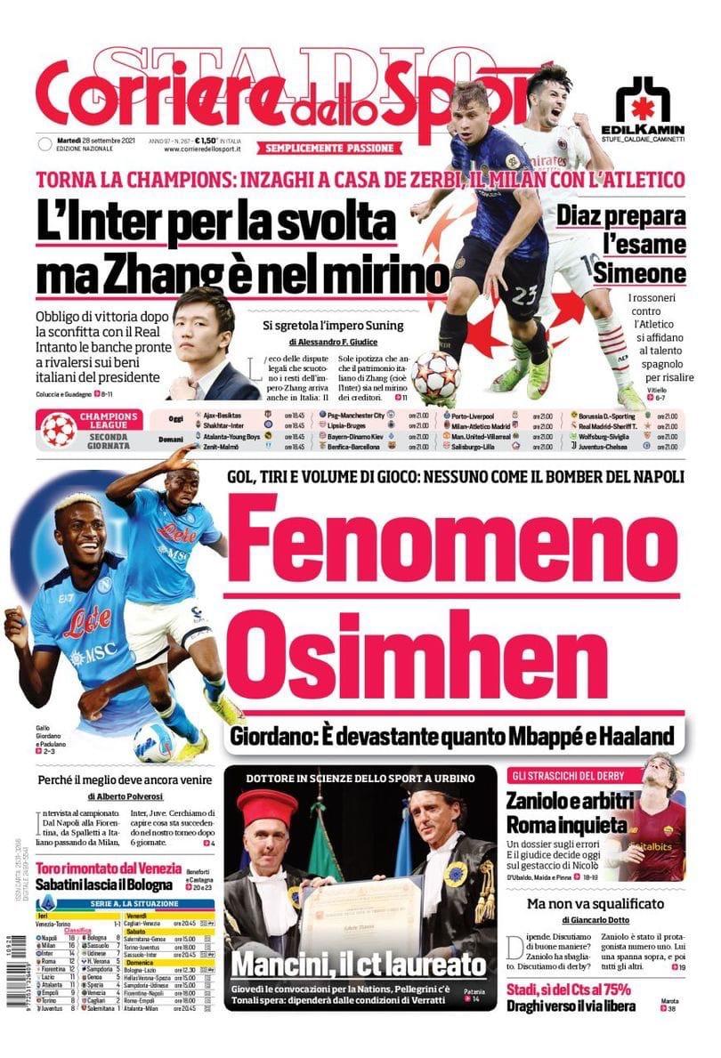Чоло для нас двоих. Заголовки Gazzetta, TuttoSport и Corriere за 28 сентября