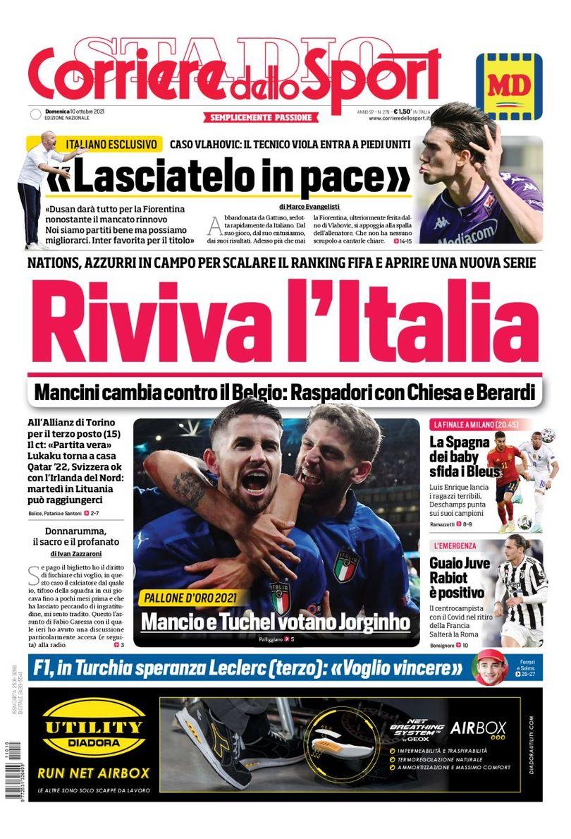 Италия оживает. Заголовки Gazzetta, TuttoSport и Corriere за 10 октября