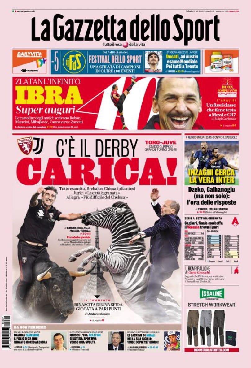 Стоит всего. Заголовки Gazzetta, TuttoSport и Corriere за 2 октября